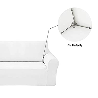 Deconovo Velvet Plush Strapless Sofa Slipcover Modern Solid Color Stretch Sofa Slipcover