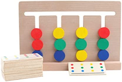 Toyvian モンテッソーリロジックスライドパズルボードカラーマッチング迷路木製就学前学習早期教育玩具
