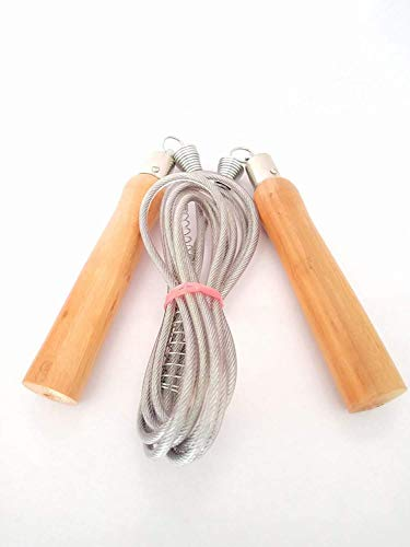 9ft Long | Skipping Rope | Jump Rope | Wooden Handle | PVC Rope with Steel Wire Inside for Smooth Rotation | Best Gym Training | Price & Reviews