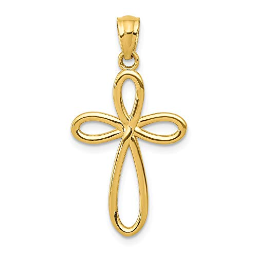 14k Yellow Gold Ribbon Cross Religious Pendant Charm Necklace Fancy Fine Jewelry Gifts For Women For Her