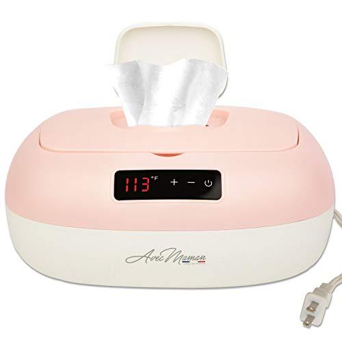Avec Maman - La Caresse, Baby Wipe Warmer - Designed In France | Wet Wipe Dispenser - Adjustable Heat Settings, Digital Display 2020]