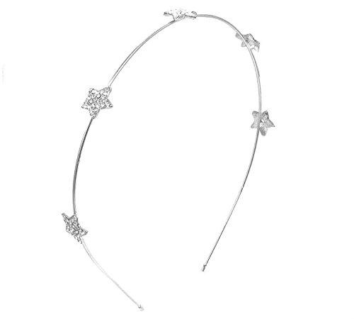 ddoq Künstliche Strass Creolen star gehörnten Legierung Haarband 14x 12cm (Silber)