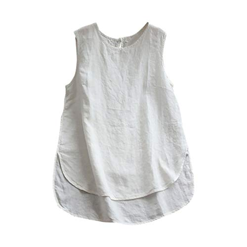 (Sunyastor Cotton Linen Tank Tops for Women Sleeveless Plus Size Casual Loose Vintage Solid Vest Blouse White)