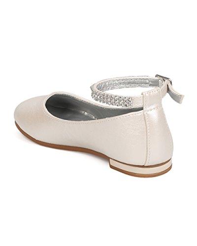 Little Angel FB37Leatherette Rhinestone Ankle Strap Ballerina Flat (Toddler Girl / Little Girl / Big Girl) - Ivory (Size: Toddler 9) by Little Angel (Image #2)
