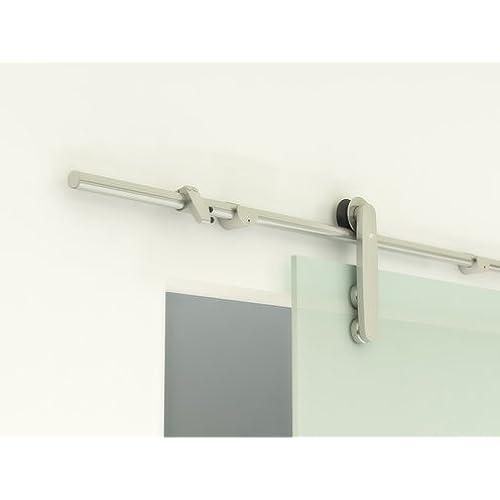 Contemporary Stainless Steel Sliding Barn Door Hardware For Glass Doors /  Satin Finish   Placid Series (8u0027 Rail Length)