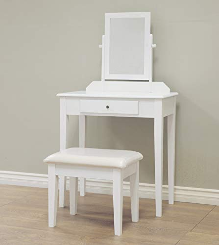 Frenchi Home Furnishing  3 Piece Wood Vanity Set, White Finish - Vanity Bedroom