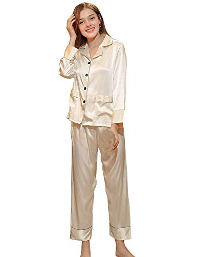 Pijama 2 Larga Camisones Manga Satín Moda Pecho Classic Ropa Tops Primavera Mujer cuello Un Solo tz627 Simplemente Elegantes Otoño V Albornoz White Batas Pijamas Pantalon Pedazos 0xAqBfaIw