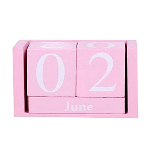 Vosarea Calendario de madera vintage, chic bloques de escritorio calendario perpetuo, concepto de tiempo Cubos de madera...