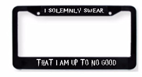 I solemnly swear I am up to no good inspired license plate frame.