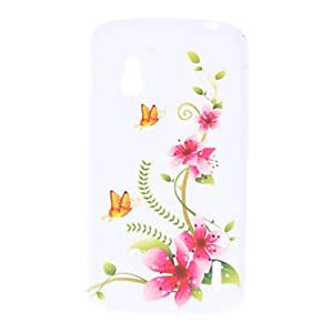Flower and Butterfly Pattern Soft Case for LG E960 Nexus 4