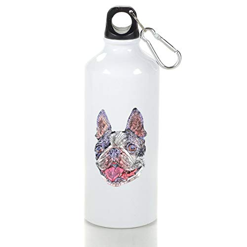 Wenlitee Boston Bull Terrier Aluminum Outdoor Sports Bottle Mountaineering Kettle White S
