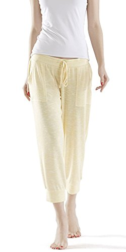 Ink+Ivy Cuffed Jogger Capri Pants for Women, Lounge Sleepwear Pajama Pants, Yellow Size S