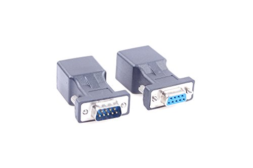 DB9 RS232 COM Male Port to RJ45 Female & Female Port to RJ45 Female Connector Card DB9 Serial Port Extender to LAN CAT5 CAT6 RJ45 Network Ethernet Cable Adapter