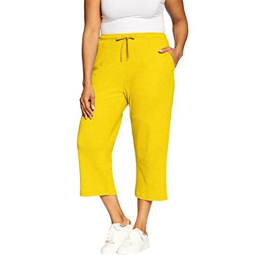 (Woman Within Women's Plus Size Sport Knit Capri Pant - Bright Daffodil, L)