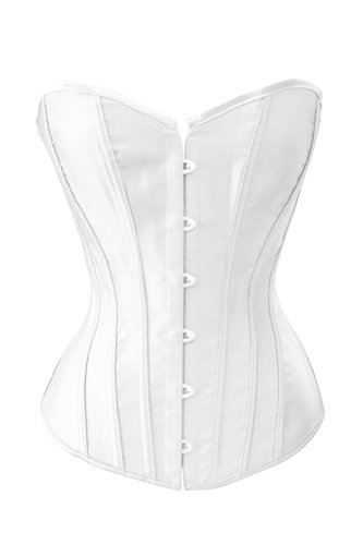 (Chicastic Sexy White Satin Corset Lace Up Bustier with Strong Boning - 3-4 XL)