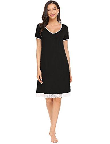 Sweetnight Women Summer Sleep Dress Short Sleeve Round Neck Lace Trimmed Night Shirt Lounge Dress (Black, XL) - Trimmed Dress