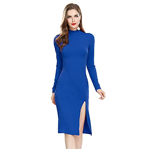MQGIOEA Women's Sexy Solid High Neck Long Sleeve Bodycon Midi Cocktail Dress with Side Split (Blue, L)
