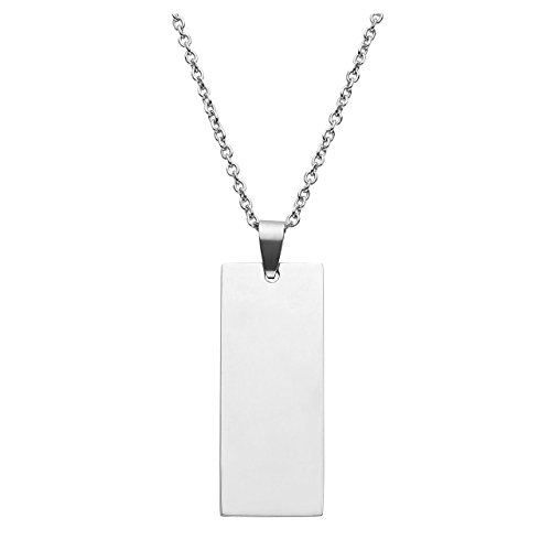 JOVIVI Stainless Steel Mirror Polished Blank Square Dog Tag ID Bar Pendant Necklace -