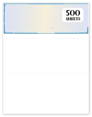 500 High Security Blank Check Paper Blue Prismatic with Padlock Icon and Visible Fibers for Quickbooks Quicken compare to Versacheck Refills Form # 1000