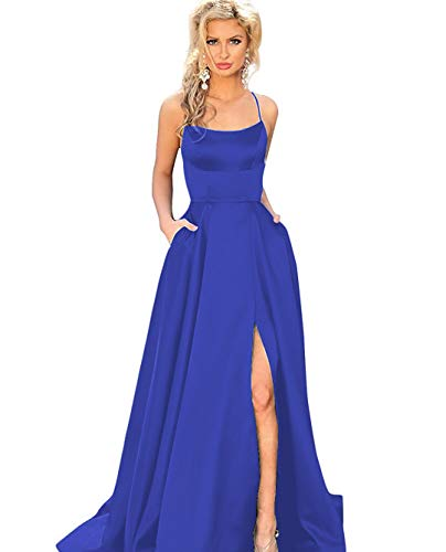 AGS Bridal Women's Spaghetti Strap Satin Evening Prom Dress Long Backless Formal Ball Gown with High Slit Size 16W Royal Blue