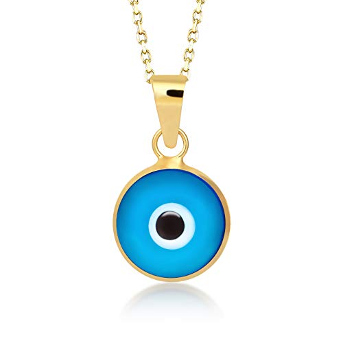 (Gelin 14k Yellow Gold Evil Eye Protection Charm Chain Necklace for Women, 18 Inc)