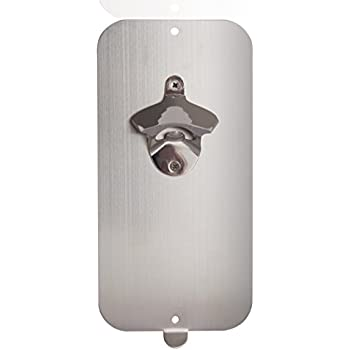 Master Magnetics Magnetic Bottle Opener and Cap Catcher, Brushed Stainless Steel, 5