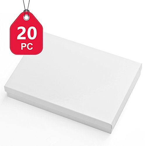 MESHA Cardboard Paper Box for Jewelry and Gift 8x5.5x1.25 Inch Thick White Paper Box With Cotton Lining (20 pcs, White) by MESHA