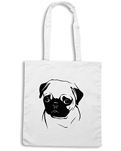 Borsa OF PUG Bianca WES0646 A PORTRAIT Shopper DOG Shirt Speed PET AqTaHOw