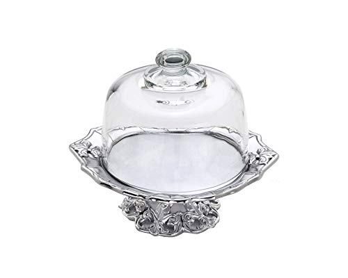 Arthur Court Fleur De Lis Footed Plate with Glass Dome, 8-Inch
