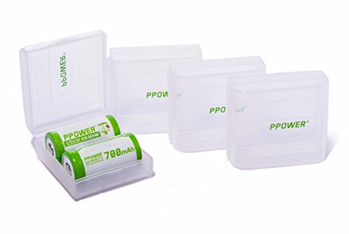 4 X Ppower Battery Box, Storage Box Battery case,Container for 2X Rcr123 cr123a cr123 Li-ion Battery (Batteries are not Included) P-Power