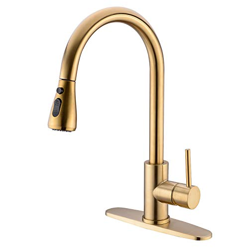 TRUSTMI Single Handle High Arc Brushed Gold Brass Pull out Kitchen Faucet,Single Level Kitchen Sink Faucets with 3 Setting Pull Down Sprayer and Deck Plate, Brushed Gold