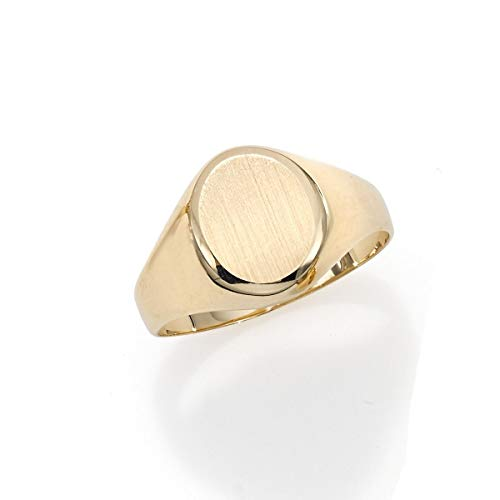 Gold Oval Signet Ring - 14k Yellow Gold Matte Oval Signet Ring, Size 7