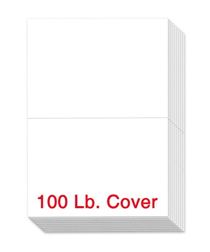 Extra Thick 100lb White Uncoated Cover Stock Half Fold Greeting Cards / Invitations, 5.5 X 8.5 Inches When Folded - 50 Cards Per Pack (Best Printer For Desktop Publishing)