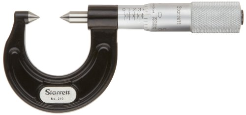(Starrett 210AP Screw Thread Comparator Micrometer, Plain Thimble, 0-7/8