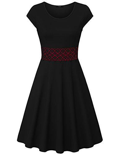 Sleeve Scoop Necklace - Laksmi Women's Elegant Round Neck Cap Sleeve A-Line Cocktail Party Swing Dress Black XL