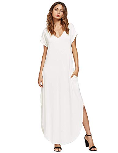 Verdusa Women's V Neck Side Pockets Split Hem Beach Long Maxi Dress White XL