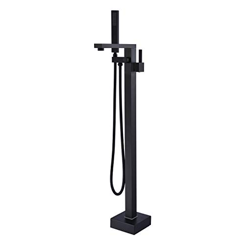 Artiqua Freestanding Bathtub Faucet Tub Filler Black Floor Mount Brass Bathroom Faucets Single Handle with Hand Shower