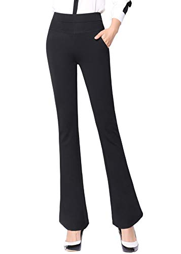 ABCWOO Women's High Waisted Yoga Office Pants Stretch Dress Work Slacks Business Casual Flare Trousers Black US 12 (Best Women's Dress Pants For Work)