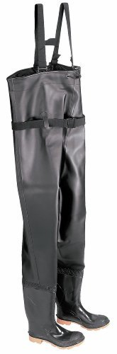 ONGUARD 86066 PVC/Polyester Men's Plain Toe Chest Wader Boots with Cleated Outsole, 56-19/32 Height, Black, Size 13 by ONGUARD Industries
