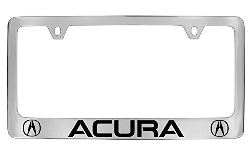 Acura Logo Chrome Plated Bottom Engraved Metal License Plate Frame Holder
