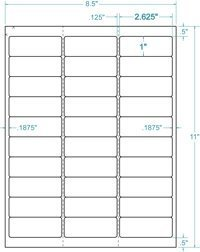 """10 Boxes- 2-5/8"""" x 1"""" Frosty Clear Address Label, CLS370102(2.625X1 Clear)-30,000 Labels"""