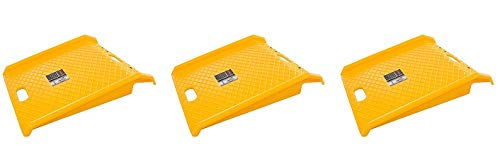 Curb Ramp, Heavy Duty Portable Poly Ramp with 1000 Lbs Weight Capacity by Stalwart (for Delivery, Hand Truck, Carts, Wheelchairs, Walkers) (Yellow) (3-(Pack)) by Stalwart (Image #1)