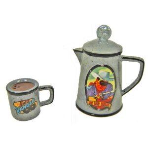 (Collectible Lone Ranger Coffee Pot and Cup Salt and Pepper Shaker Set By Vandor Lyon Company)