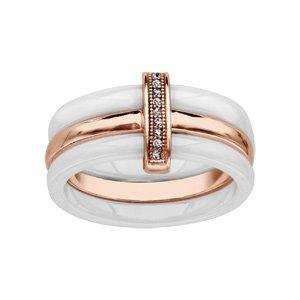 1001 Bijoux - Bague plaqué or rose 2 anneaux céramique blanche 1 anneau lisse oxydes micro sertis blancs