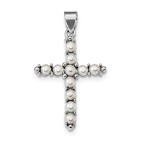 ICE CARATS 925 Sterling Silver Freshwater Cultured Pearl Cross Religious Pendant Charm Necklace Latin Fine Jewelry Ideal Gifts For Women Gift Set From Heart