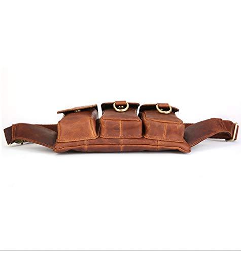 Cinturón Red De Bolsa Genuina Cintura Bolso El Ajustable Piel Red Bolsos Viaje brown Pecho Bumbag brown Houyazhan color En gd1wqT1