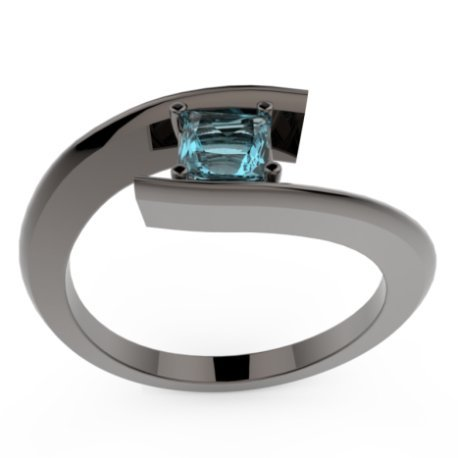 HABY PRINCESSE Bagues Or Noir 18 carats Topaze Bleu 0,8 Princesse