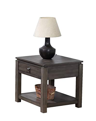 (Sunset Trading DLU-EL1602 Shades of Gray End Table, Weathered Grey)