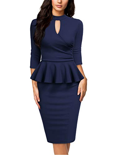 (Miusol Women's Retro Ruffle Style Half Collar Slim Cocktail Pencil Dress,Small,A-Navy Blue)