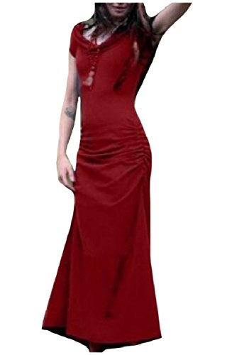 Vita Medievale Backless Pieno Rosso Coolred Hoode Smocked Lunghezza Vestito donne Vino 7nwqRUxPt
